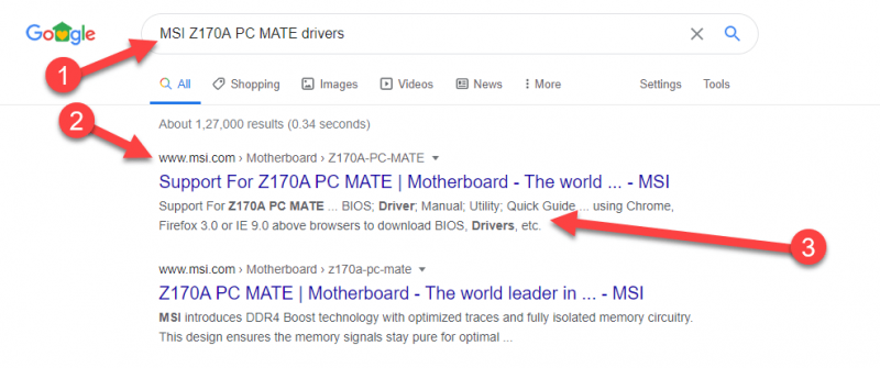 How to find my Motherboard Drivers search MSI Z170A PC MATE