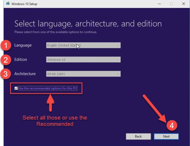 select the language, architecture, and edition