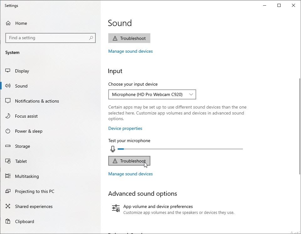 Click on Open Sound settings or you can clink on Troubleshoot sound problems