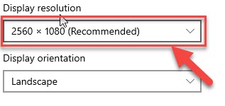 Display resolution menu and select the recommended resolution
