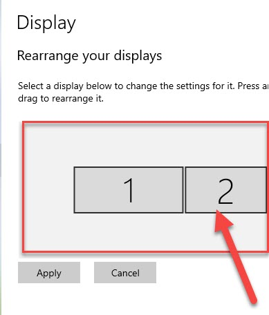 Rearrange your displays tab, drag the second monitor icon