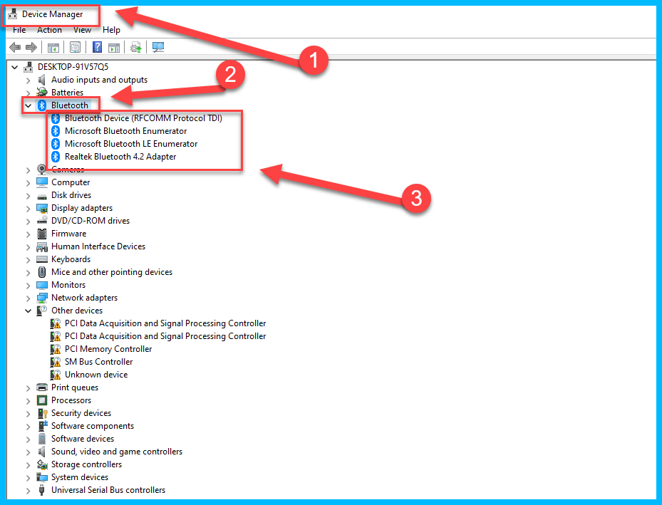 device manager bluetooth