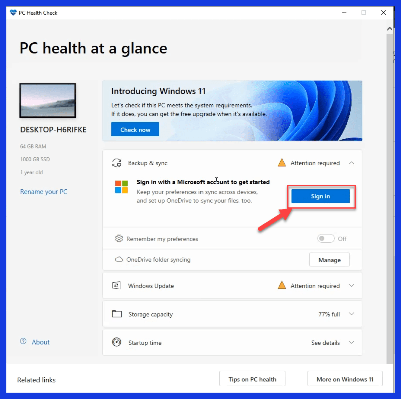 Click on Sign in and log in with your Microsoft Account