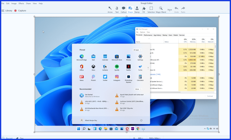 How to Capture a Screenshot in Windows 11 from Snagit Tool