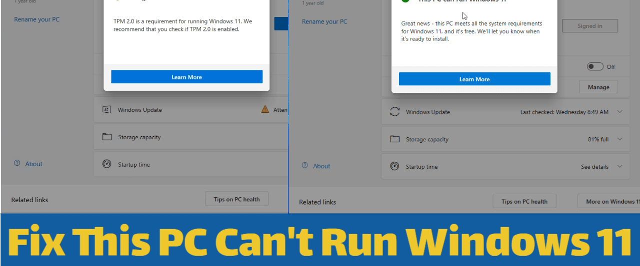 How to Fix This PC Can't Run Windows 11