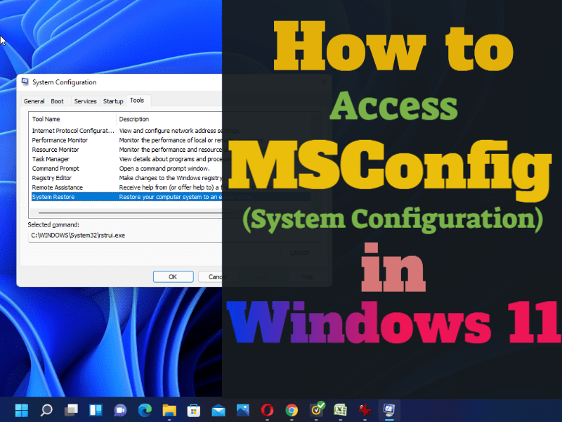 How to access MsConfig (System Configuration) in Windows 11