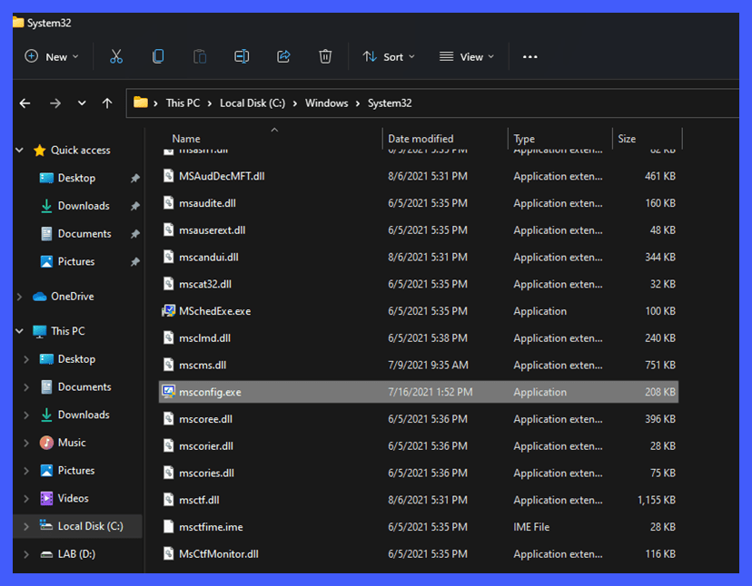 Where to find MSConfig